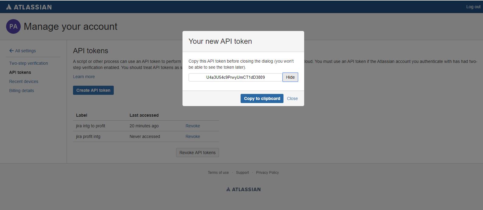 new API token