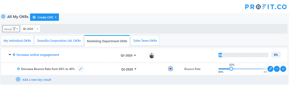 OKR product dashboard - progress KR