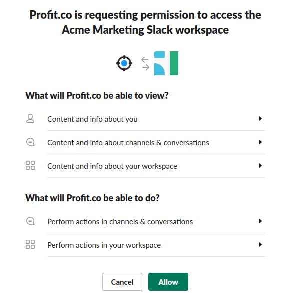 Permission for Profit integration with slack.