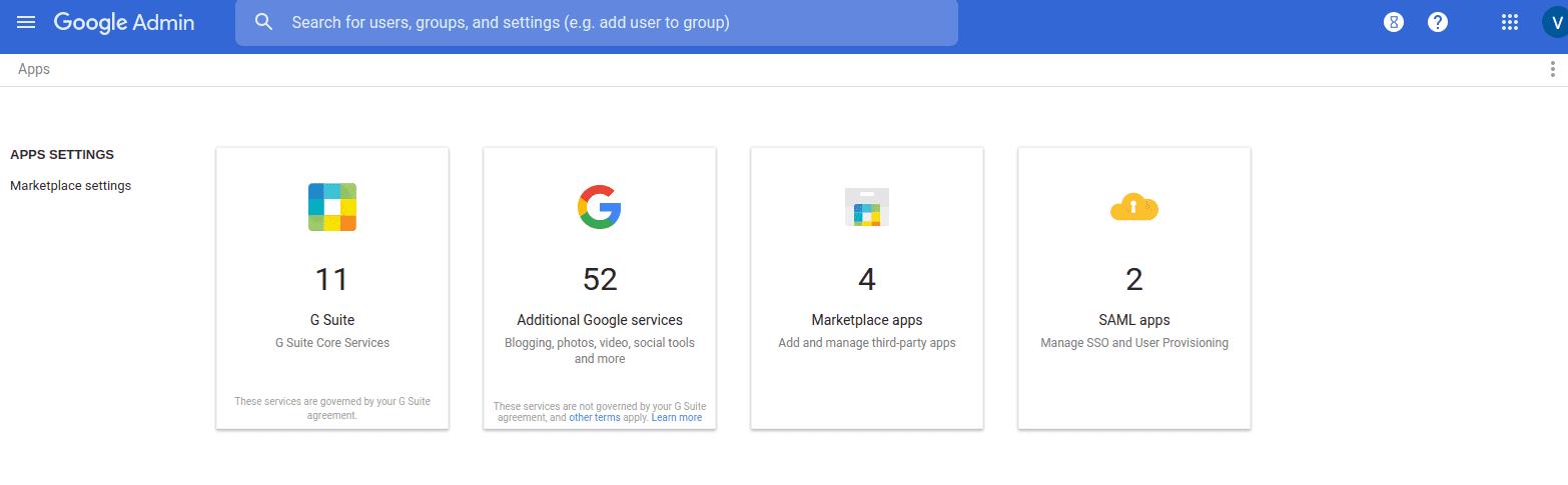 Google Admin, Apps
