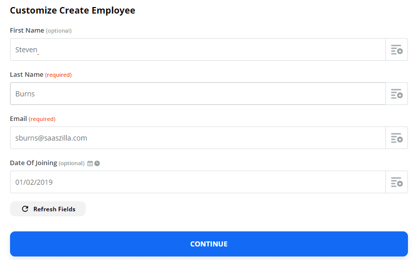 customize create employee
